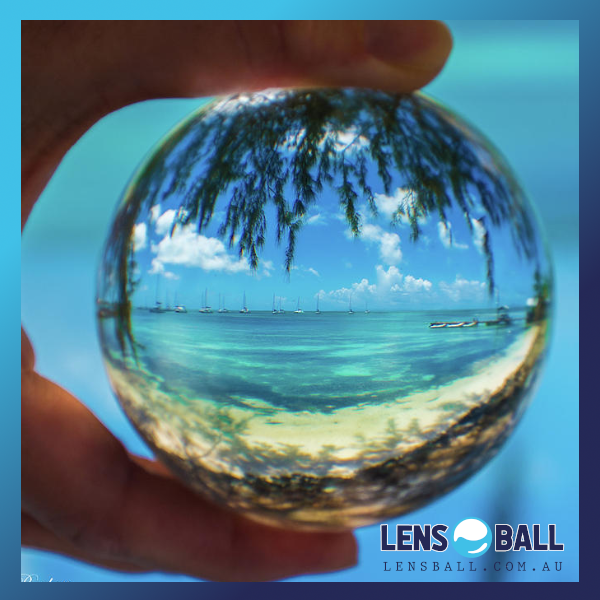 lensball photography beach scene tropical palms beach