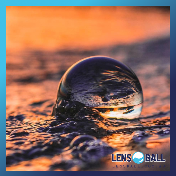 Lensball Photography crystal ball in the surf water lensball in beach bubbles crystal ball